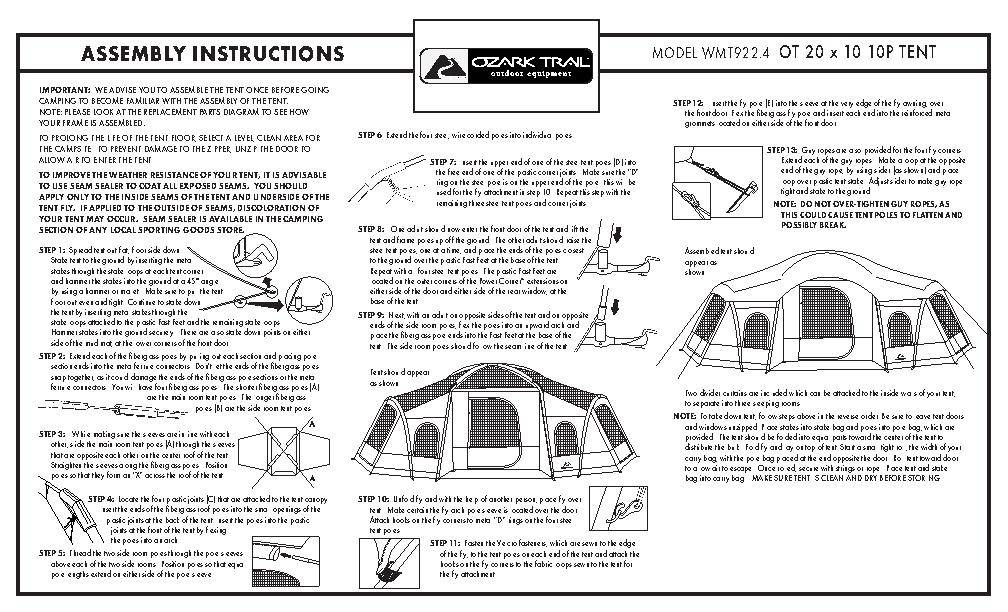 Ozark Trail 3 Room Xl Vacation Lodge Tent Instructions