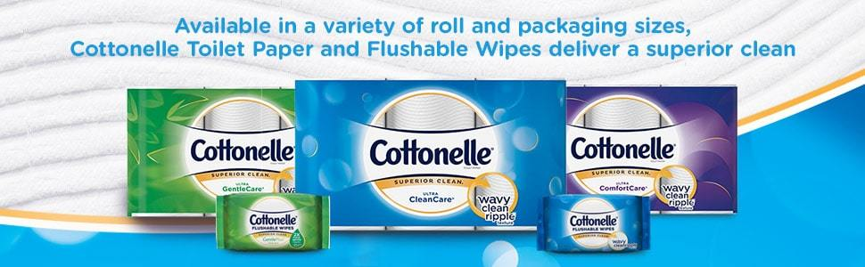 Cottonelle GentleCare, Cottonelle CleanCare, Cottonelle ComfortCare toilet paper & flushable wipes