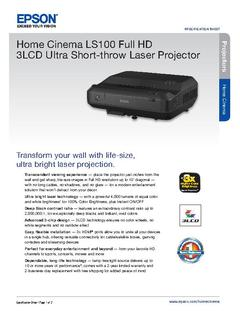 View Epson Home Cinema LS100 Full HD 3LCD Ultra Short-throw Laser Projector Product Specifications PDF