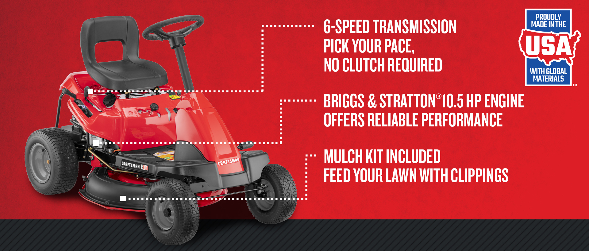 R110 10 5-HP Manual/Gear 30-in Riding Lawn Mower with Mulching Capability  (Included)