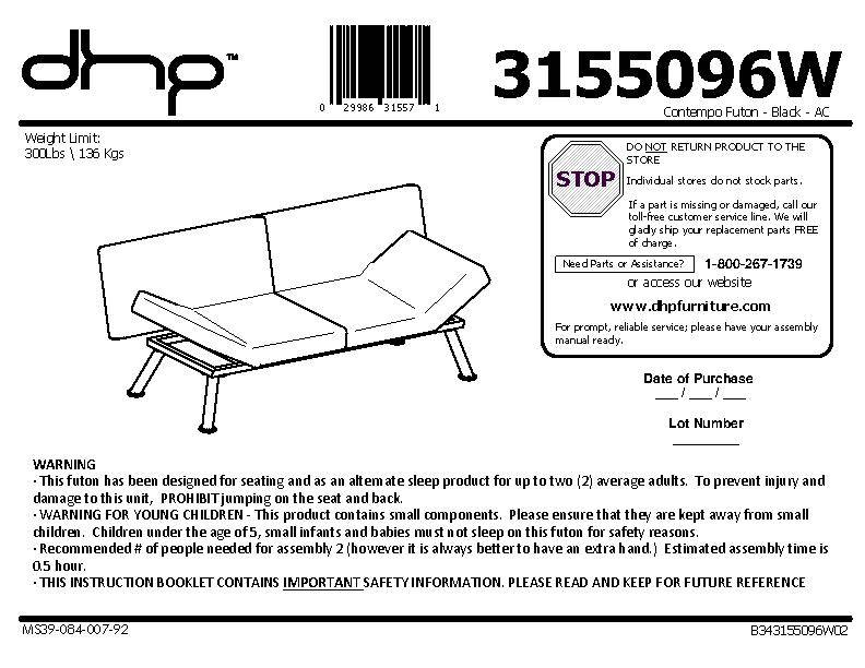 Vermont Metal Futon Frame Embly Instructions Product Manual And