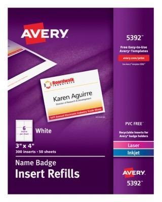 avery laser name badge inserts 3 x 4 box of 300 by office depot