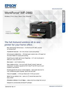 View Epson WorkForce WF-2860 Product Specifications PDF