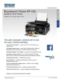 View Epson Expression Home XP-430 Small-in-One Product Specifications PDF