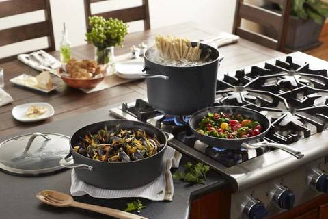 calphalon nonstick cookware is created with multilayer nonstick for the interior includes three layers of nonstick coating