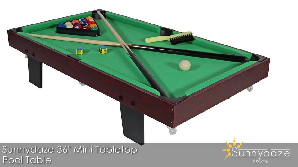 Sunnydaze 36 Inch Mini Tabletop Pool Table With Triangle, Balls, Cues,  Chalk And Brush   Walmart.com