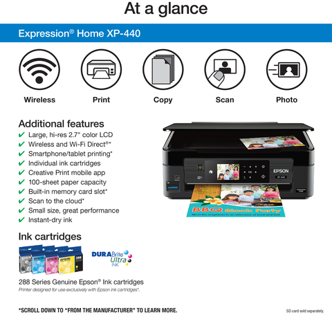 Epson Expression Home Xp-440 Small-in-one Printer | All-in