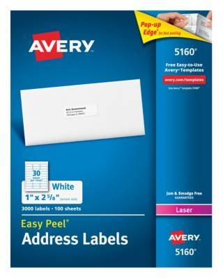 Avery Easy Peel Permanent Laser Address Labels 5160 1 X 2 58 White