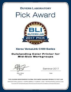 View Buyers Lab Summer 2017 Pick Award Certificate PDF