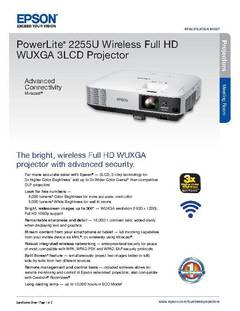 View Epson PowerLite 2255U Wireless Full HD WUXGA 3LCD Projector Product Specifications PDF