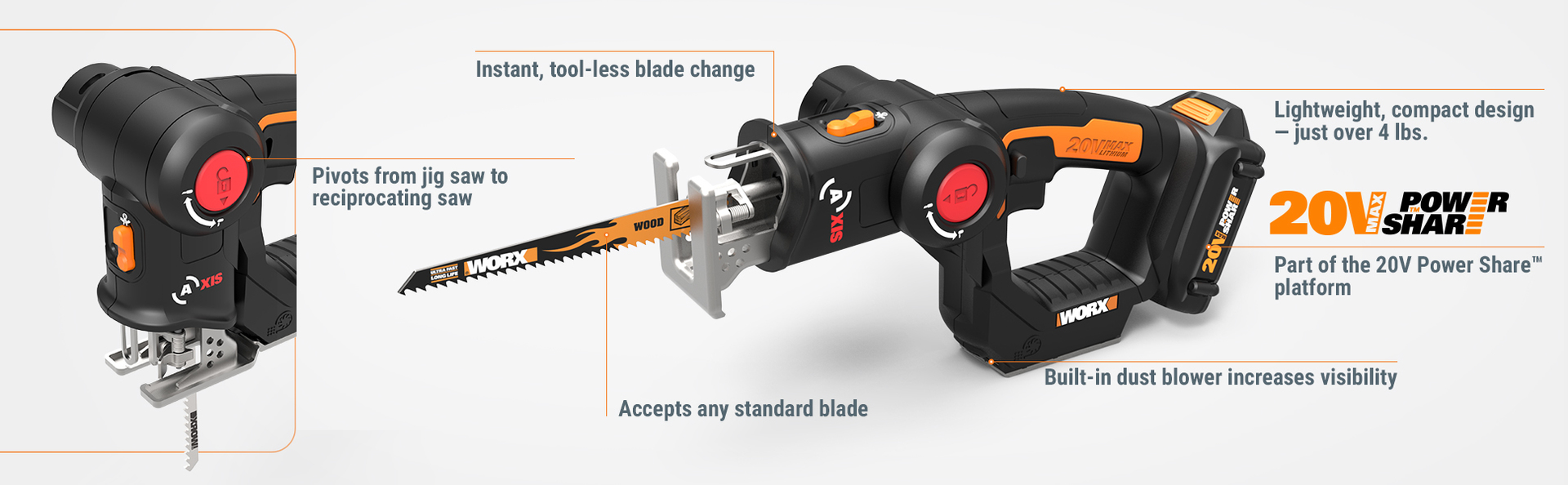 Worx wx550l 20v axis 2 in 1 reciprocating saw and jigsaw with the 20v axis combines a reciprocating saw and a jigsaw in one useful tool delivering versatility and power so you can make the fast clean cuts your job greentooth Gallery