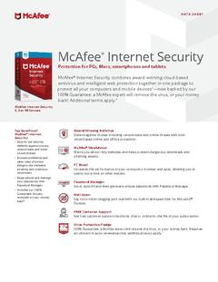 View McAfee Internet Security Data Sheet PDF