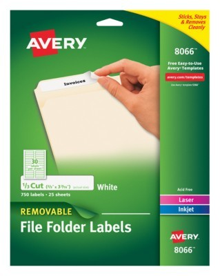 Avery Removable File Folder Labels Inkjet 8066 23 X 3 716 White Pack