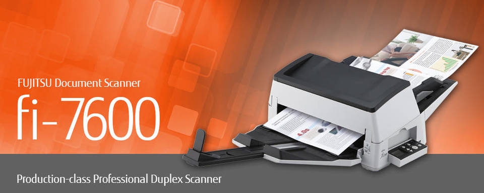 "Image of FUJITSU Document Scanner fi-7600: ""Production-class Professional Duplex Scanner"""