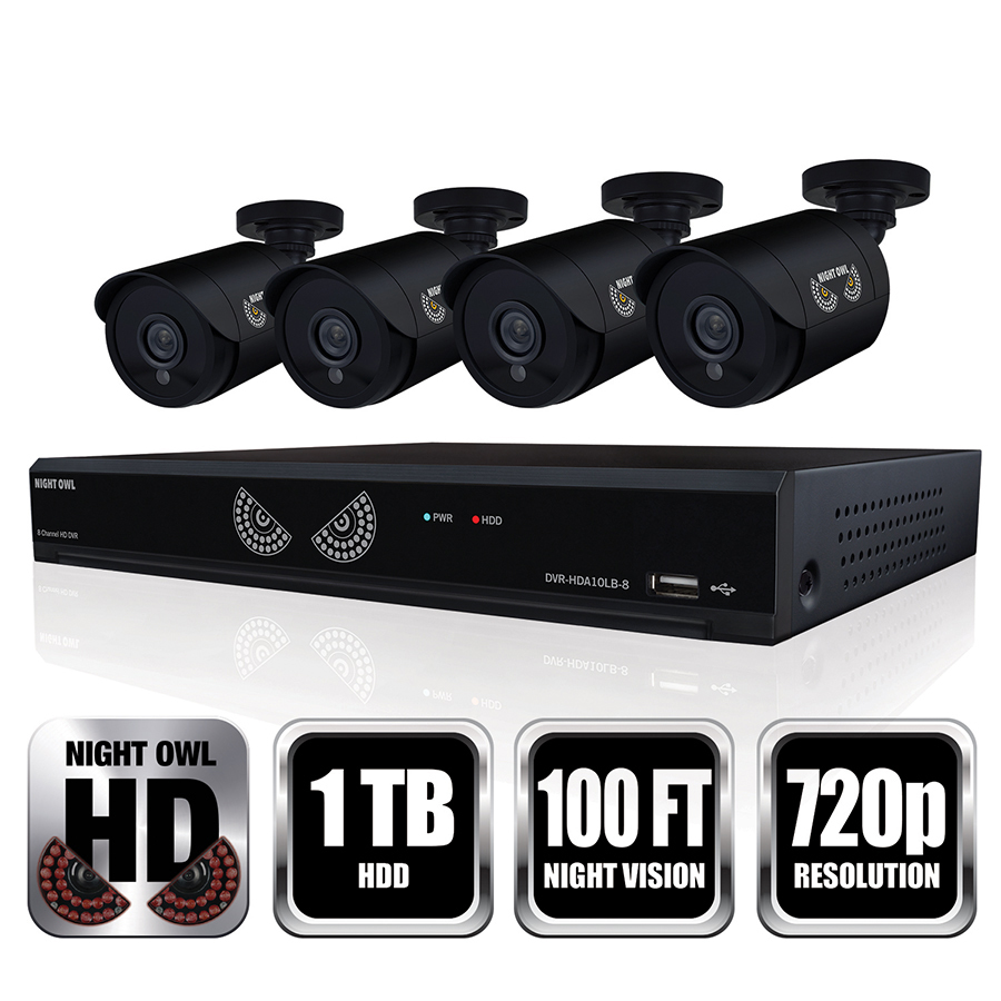 Night Owl 8-Channel Security Camera System, 720P AHD DVR, 4