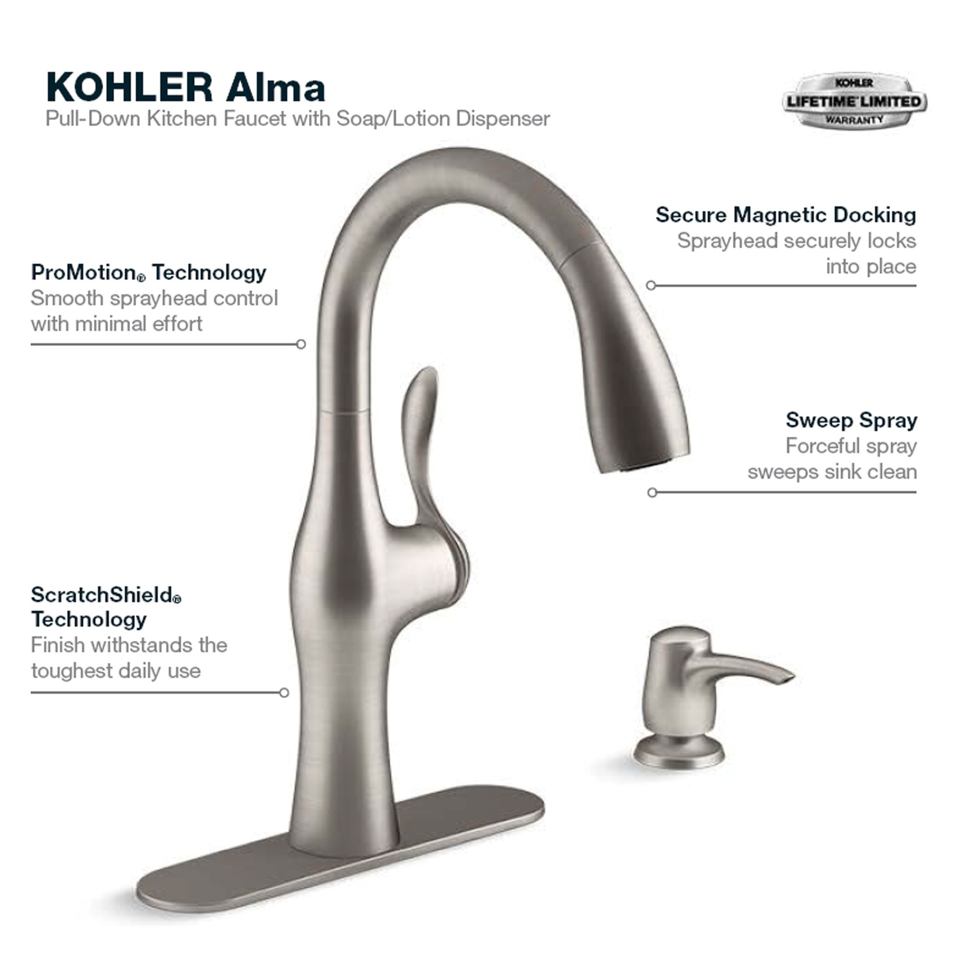 Alma Vibrant Stainless 1-handle Deck Mount Pull-down Kitchen Faucet