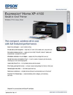 View Epson Expression Home XP-4100 Small-in-One Printer Product Specifications PDF