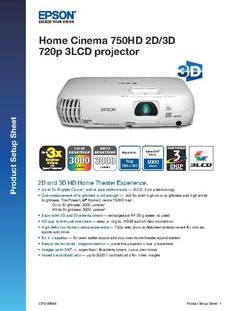 View Home Cinema 750HD Product Setup Sheet PDF