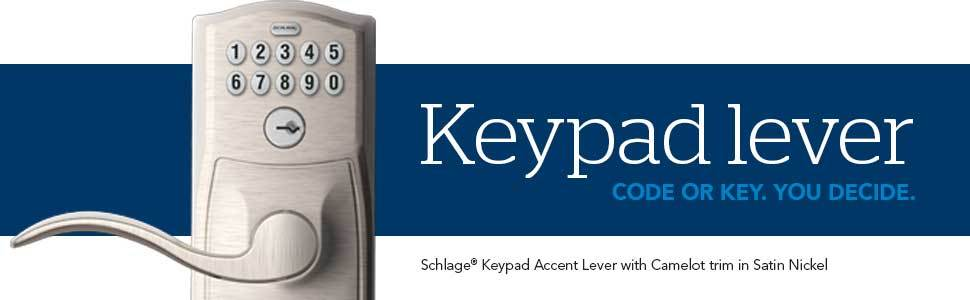 69830cd5de1 Schlage FE595 Cam Keypad Camelot Satin Nickel 1-Cylinder Lighted ...