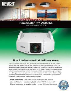View PowerLite Pro Z8150NL Specifications Sheet PDF