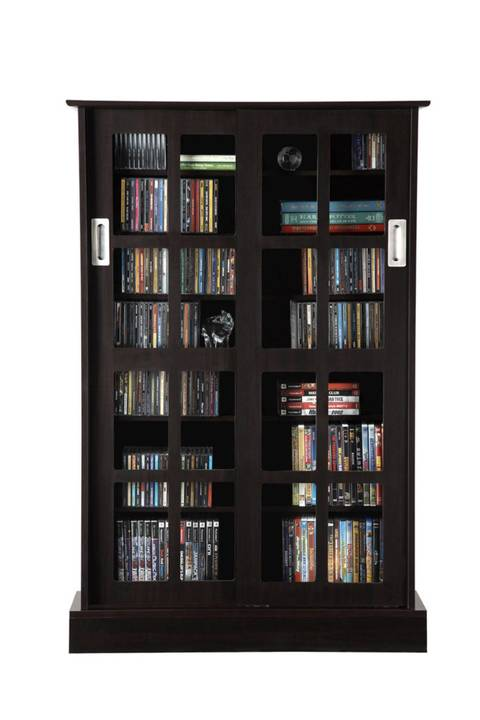 atlantic windowpane 576 cd or 192 dvd bluray games cabinet with sliding glass doors - Dvd Storage Cabinet