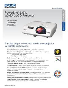 View PowerLite 535W Product Specifications PDF