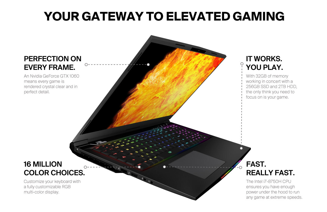 OVERPOWERED Gaming Laptop 17+, 2 Year Warranty, 144Hz, Intel