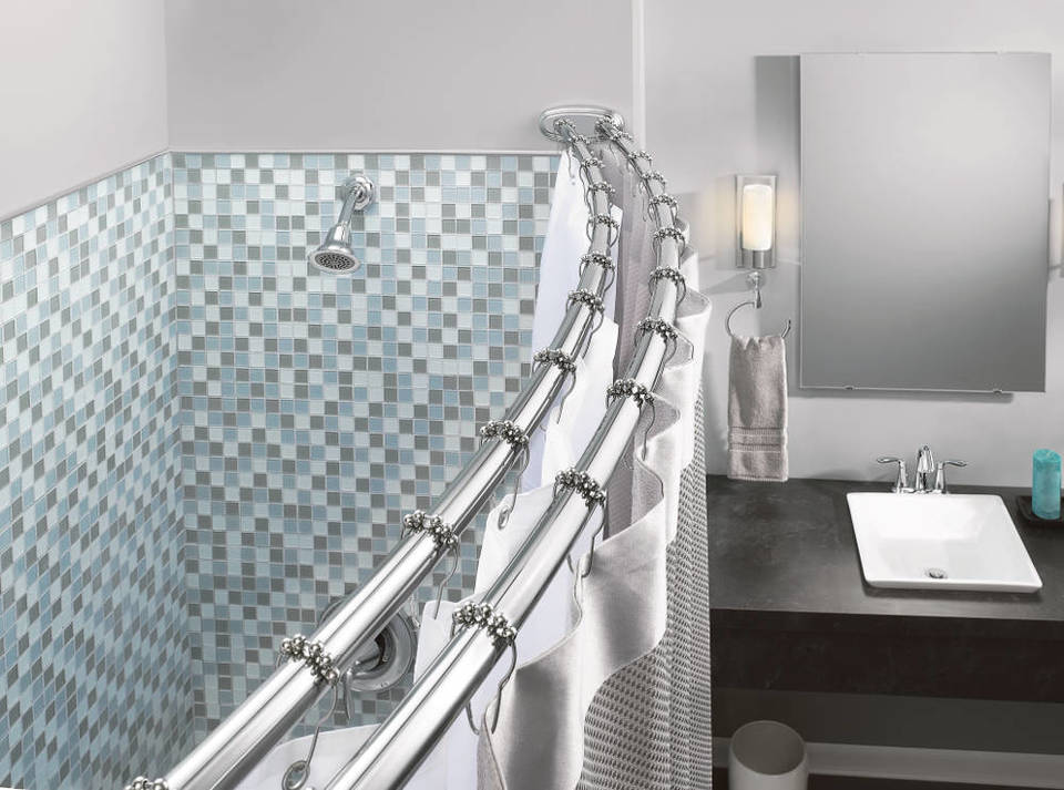 The Moen Adjule Double Curved Shower Rod Offers Exceptional Strength And Ility Its Smooth Design Allows Rings To Slide Freely