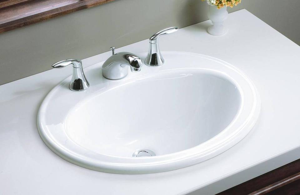 White Drop In Oval Bathroom Sink
