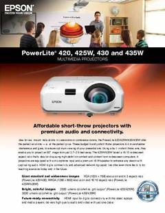 PowerLite 435W Product Specifications - opens PDF