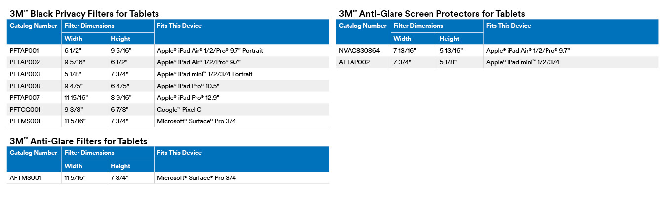 3M Black Filters and Anti-Glare Screen Protectors for tablets