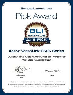 View Buyers Lab Summer 2018 Pick Award Certificate PDF