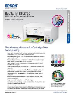 View Epson EcoTank ET-2720 All-in-One Supertank Printer Product Specifications PDF