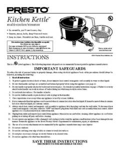 06006 Presto Kitchen Kettle Multi Cooker/Steamer Instr