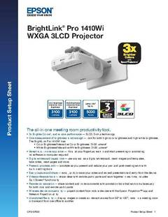 BrightLink Pro 1410Wi Product Setup Sheet - opens PDF