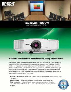 PowerLite 4200W Specifications Sheet - opens PDF
