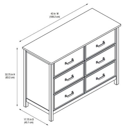 Dresser Dimensions better homes and gardens ashcreek 6-drawer dresser, mocha