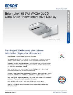 View Epson BrightLink 685Wi WXGA 3LCD Ultra Short-throw Interactive Display Product Specifications PDF