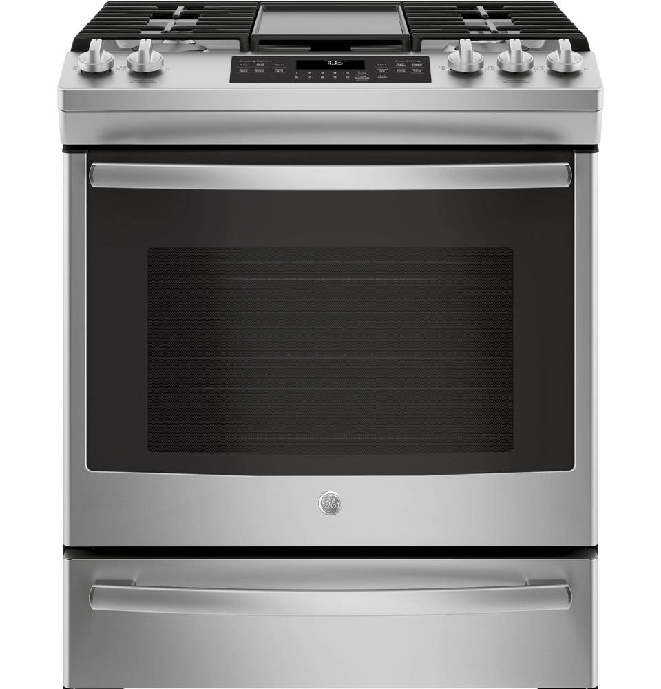 ge 5burner 56cu ft slidein convection gas