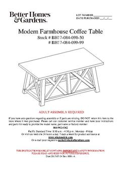 Granary Modern Farmhouse Coffee Table Assembly Manual