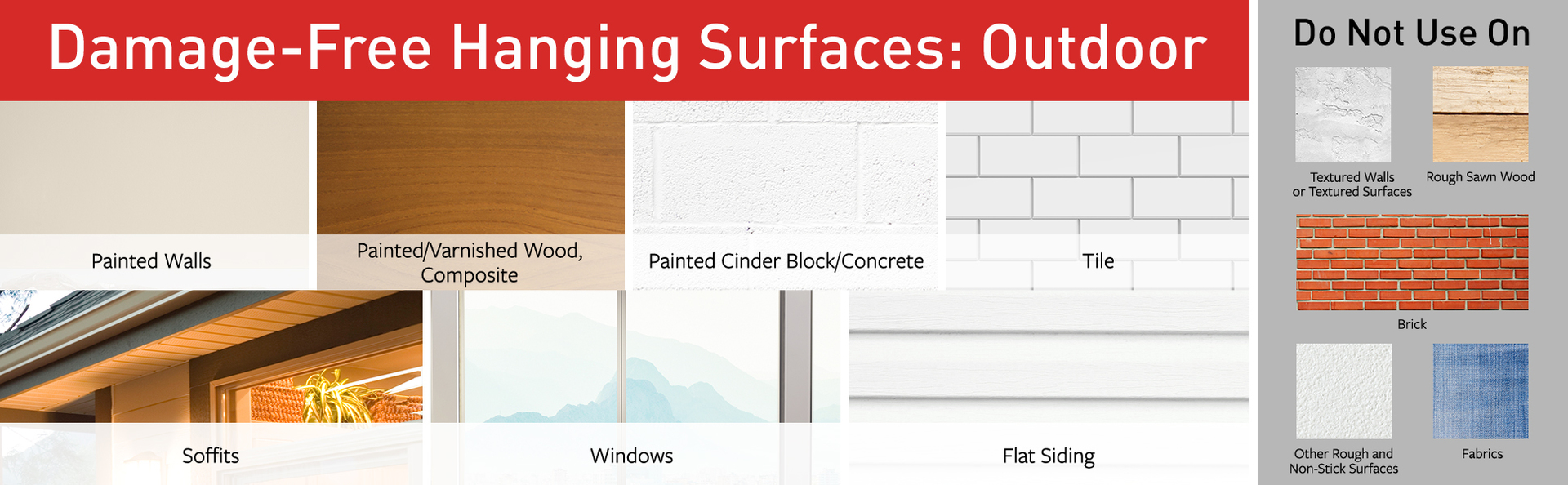 approved surfaces: Painted walls, wood, cinder block; Tile; soffits; windows; flat siding